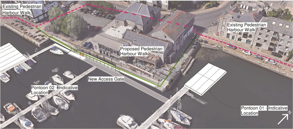 Event pontoons and waterside walkway would connect Plymouth's historic Sutton Harbour