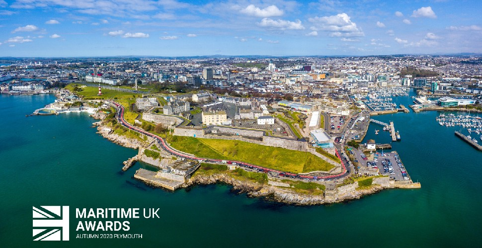 Aerial view of Plymouth from the water, looking back over the city