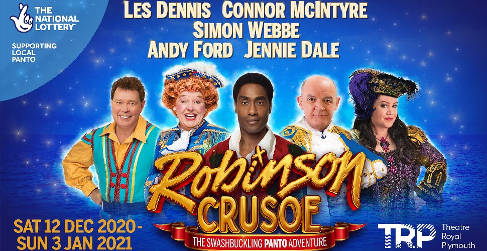 Robinson Crusoe pantomime with image of all-star cast