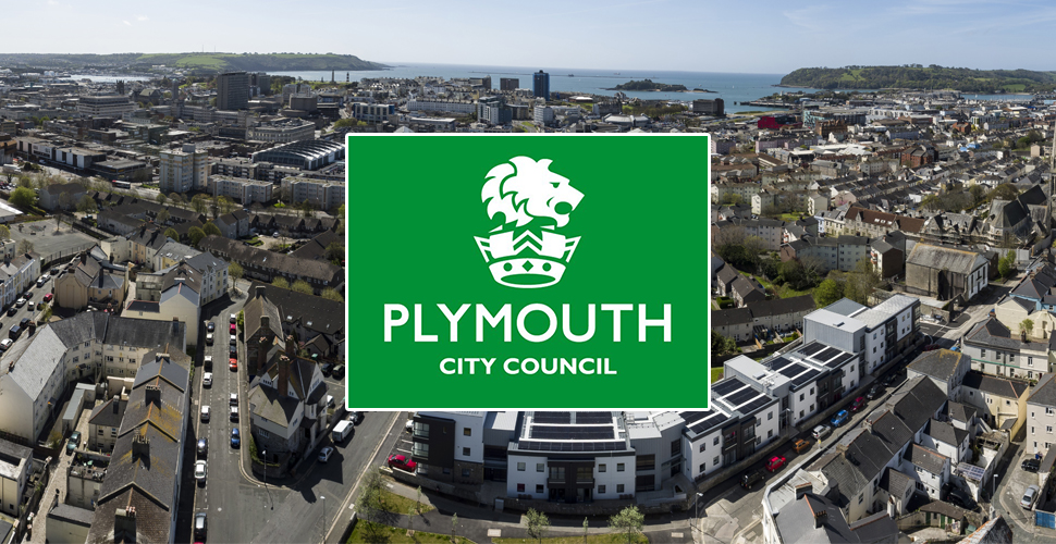 Plymouth City Council logo in front of Plymouth skyline