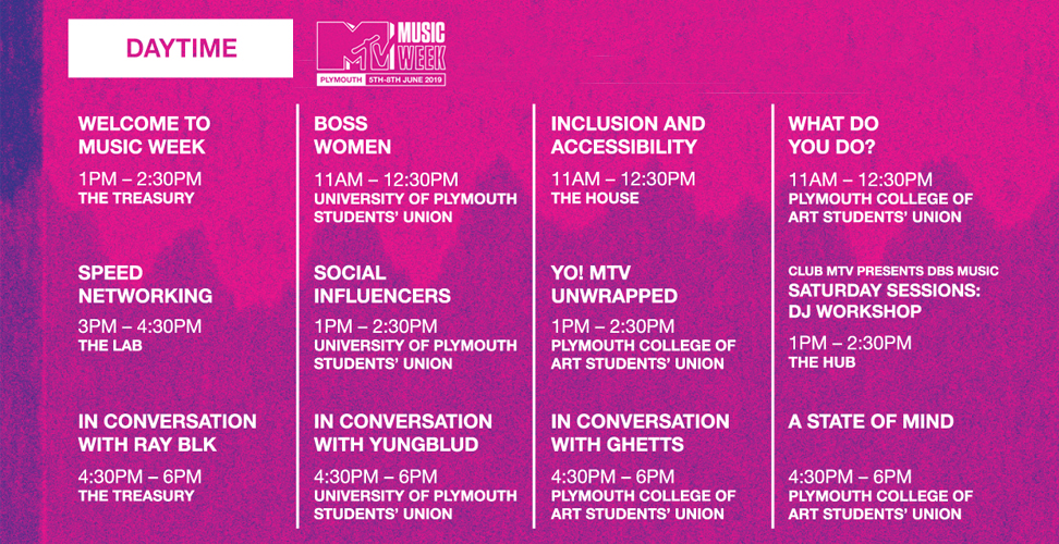 Get up close with MTV at MTV Music Week with FREE daytime sessions