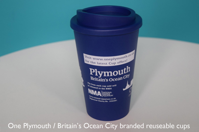 One Plymouth / Britain's Ocean City branded re-usable cup