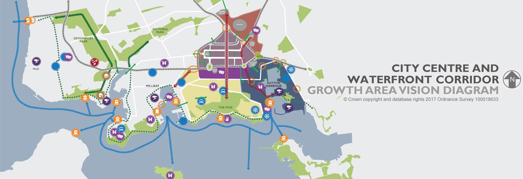 City centre and waterfront growth corridor growth area vision diagram