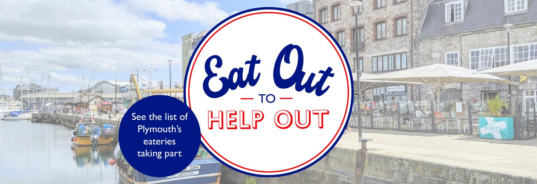Barbican street with Eat Out to Help Out logo