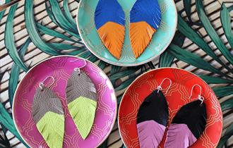 Make your own leather feather earrings workshop